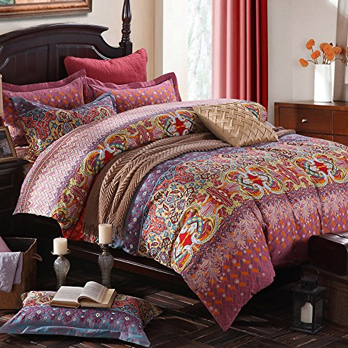 TideTex 4pc Retro Rural Boho Bedding Set Vintage Floral B...