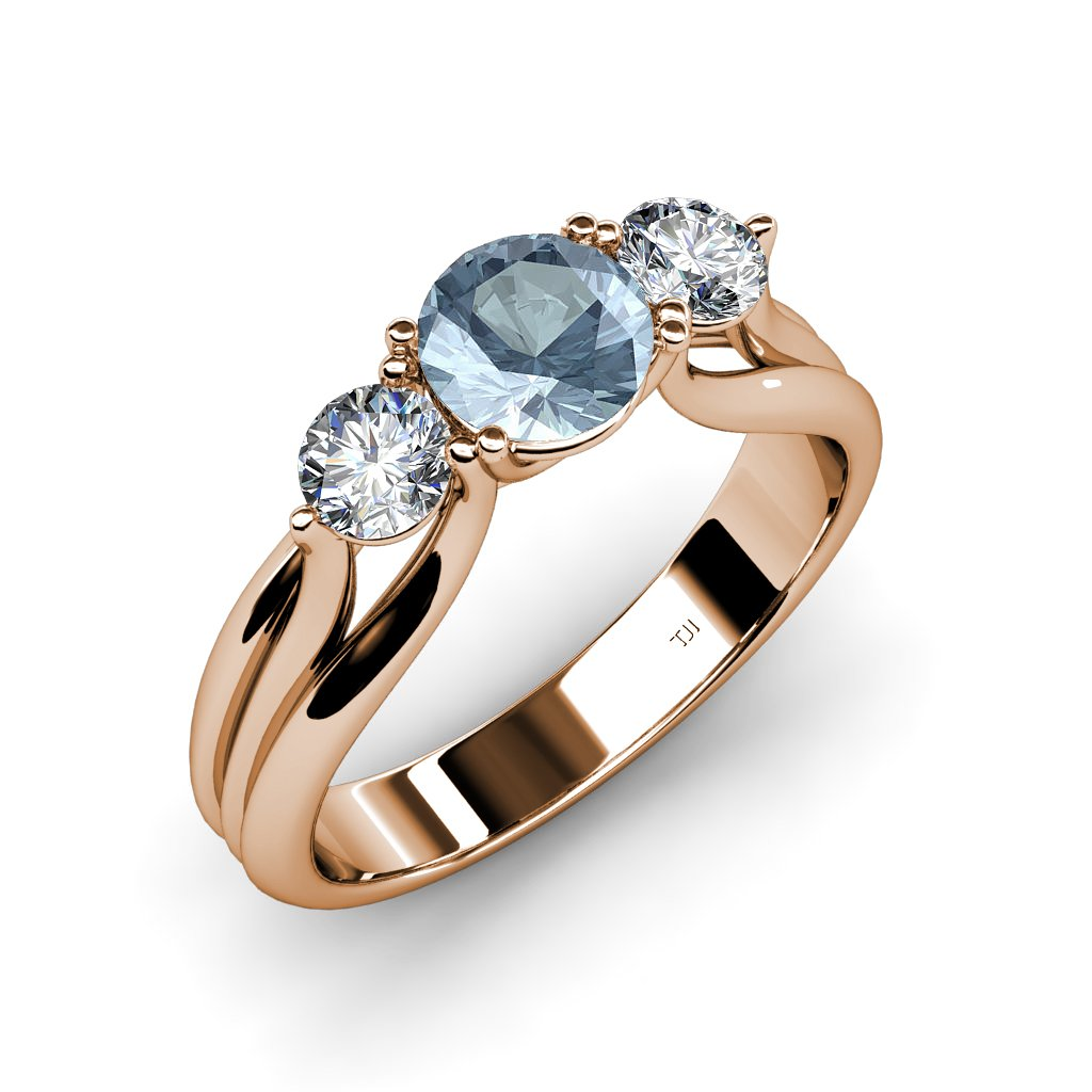 Aquamarine and Diamond Three Stone Ring with Thick Shank 1.37 ct tw in 14K Rose Gold.size 7.5