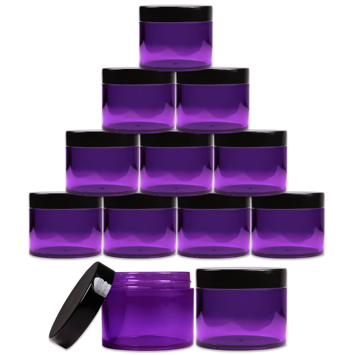 Beauticom 2 oz. 60g 60ML Quantity 12 Packs Thick Wall Round Leak Proof PURPLE CLEAR Acrylic Jars with BLACK Lids for Beauty, Cream, Cosmetics, Salves, Scrubs