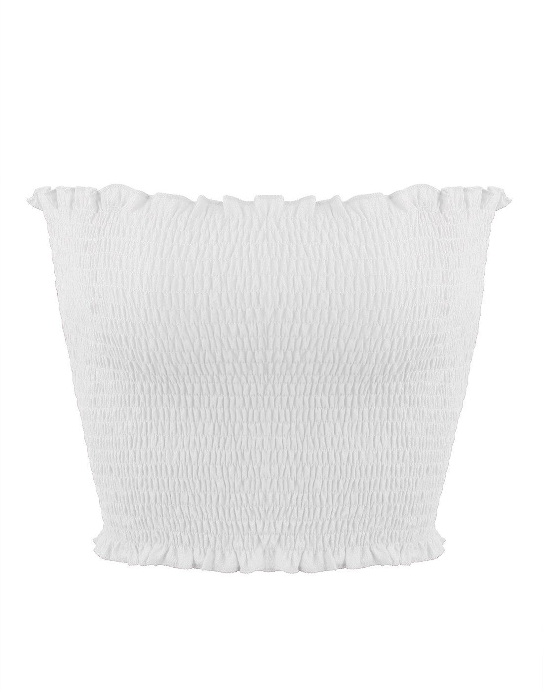 Sweetbei J Womens Strapless Pleated Summer Sexy Bandeau Tube Crop Tops White M