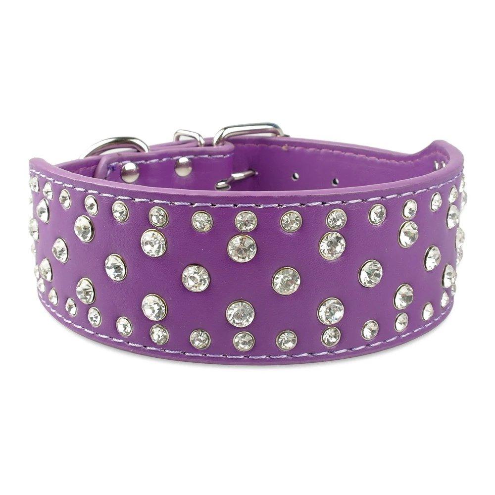 Purple L 19-22\ Purple L 19-22\ Didog Sparkly Rhinestone Wide Dog CollarSoft PU Leather Royal Look Purple L Size Fit for Medium Large Breeds