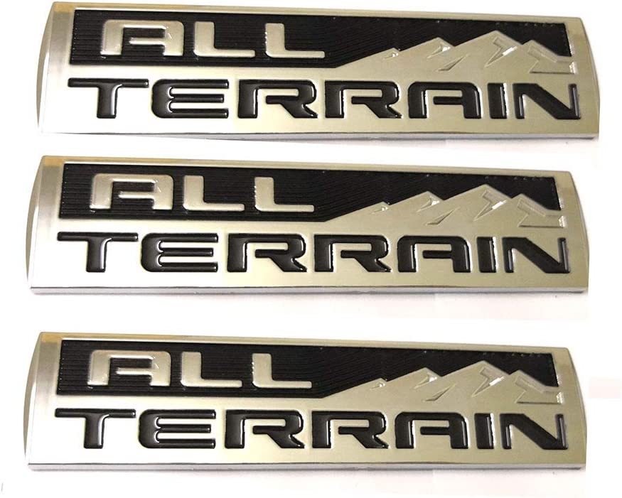 3x All Terrain Emblems Engine Race Motor Swap Badge Replacement for Trunk Hood Door for GMC Sierra 3500 Decal Chrome//Black