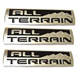 3x New Chrome All Terrain Badges Emblem 3D logo for 2014-18 GMC Sierra Canyon Red