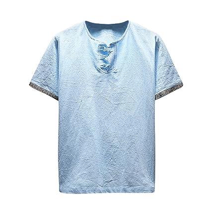 Camisa de algodón para hombres,Sonnena ❤ Chaleco de lino y algodón casual de