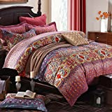 MeMoreCool Bohemia Brushed Bedding Sets Beautiful Pattern Printed Pure Cotton Home Textiles Quilt Cover-Sheet-Pillowcases 4Pc