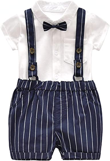 Merrybaby Baby Boys T-Shirt+Bib Pants+Bow Tie Gentleman Outfits Short Sleeve for Toddler