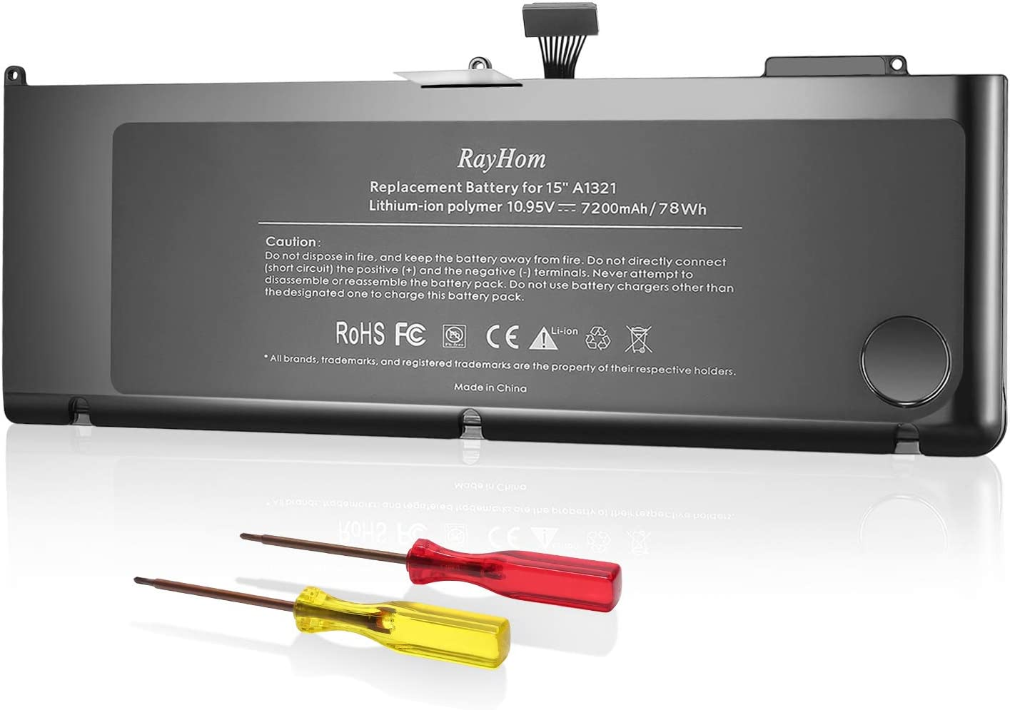RayHom A1321 A1286 Battery for Mid 2009 Early 2010 Late 2010 MacBook Pro 15 Inch