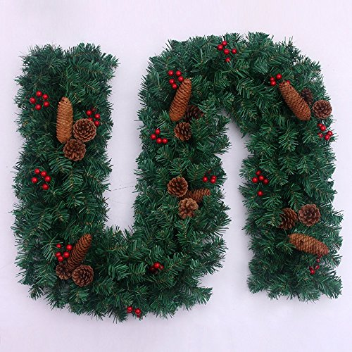 270CM Christmas Rattan Green Door Rattan Hanging Door Decoration Pinecone Family Window Wall Store Layout Christmas Tree Decorations by LEILEI