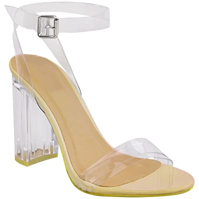 Fashion Thirsty Womens Perspex Block High Heels Clear Sandals Ankle Strappy Size