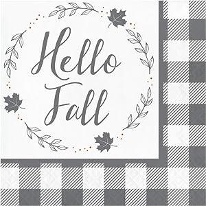 "Hello Fall Paper Napkins, Thanksgiving Napkins, Table Decor Fall Decor, Buffalo Plaid Farmhouse Fall Decor, Disposable Party Napkins 6.5"" x 6.5"" Pk 32"
