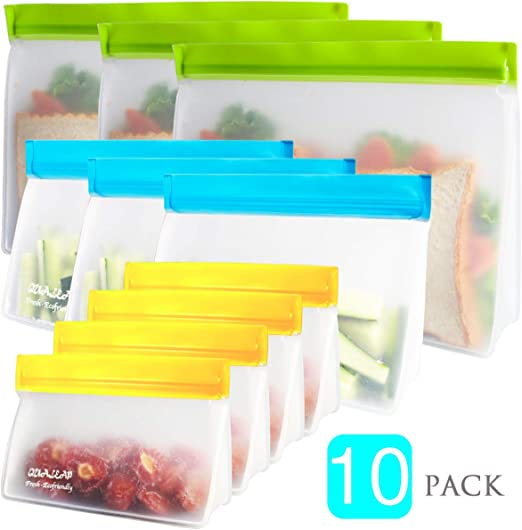 Babies Freezer Toddlers Dishwasher Safe Reusable Snack Bags Pack of 10