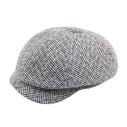 e60ba42ae1abe Amazon.com - SUKEQ Classic Visor Beret Newsboy Hat Plaid Cabbie ...