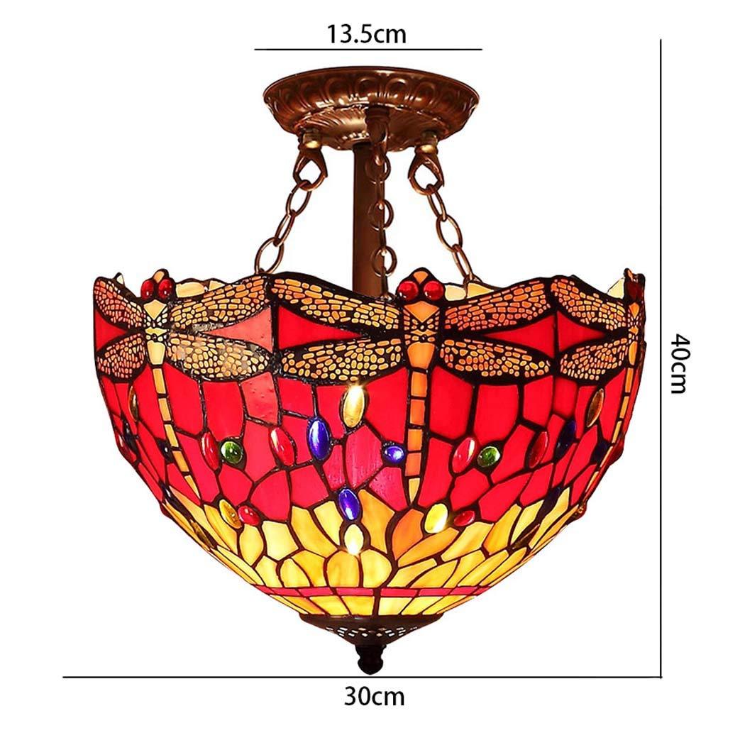 YDYG Luz de Techo de Cristal de Estilo de Tiffany, libélulas ...