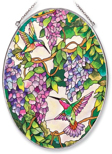 Amia Oval Suncatcher with Hummingbird and Wisteria Design, Hand Painted Glass, 6-1/2-Inch by 9-Inch