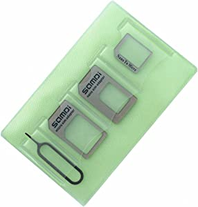 Nano Sim Card Adapter, 5 in 1 Sim Card Adapter Kit Micro Sim Card Holder with Needle For Smartphone Iphone