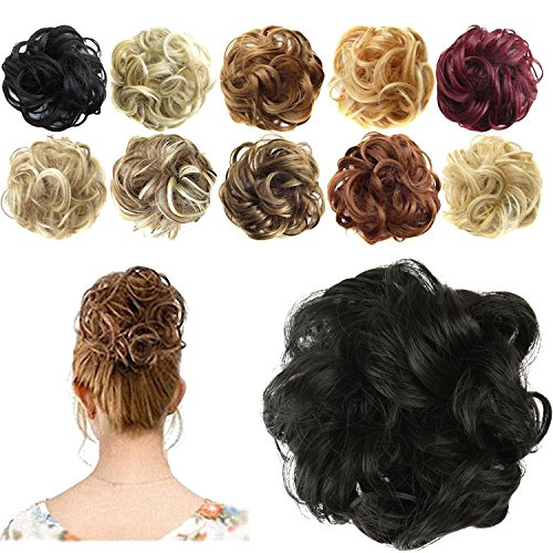 FESHFEN Synthetic Hair Bun Extensions Messy Hair Scrunchies Hair Pieces for Women Hair Donut Updo Ponytail (Diy Hair Updos For Medium Length Hair)