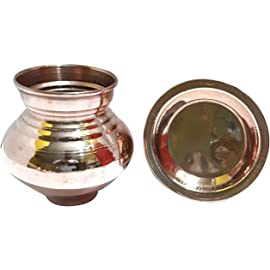 Copper Lota Kalash Combo of Handmade Copper Lota | Kalash | Pooja Utensil for Home & Temple in 100% Copper with Copper Pooja Plate (Height 3.8 inch)