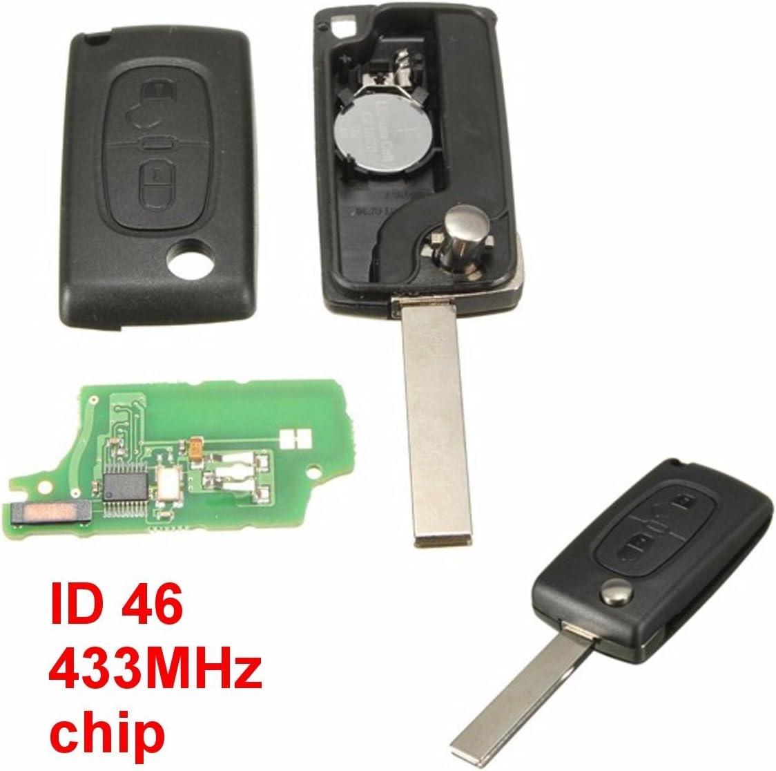 Chiave Telecomando per Peugeot 307 307sw Completa 433mhz Id46