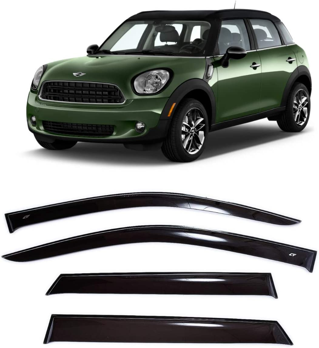 Window Air Guard Deflectors for Protection Against Snow Sun and Rain Compatible with Mini Cooper Countryman l 10-16 Dark Smoke CT Wind Visor Deflectors Set of 4-Piece Car Ventvisor Door Side