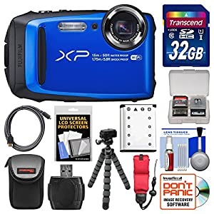 Fujifilm FinePix XP90 Shock & Waterproof Wi-Fi Digital Camera (Blue) with 32GB Card + Case + Flex Tripod + Battery + Float Strap + Kit