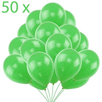 Jonami 50 Globos Verdes Brilante de Látex de 30 cm. Globos por Helio de 3,2g. Decoraciones y Accesorios para Fiestas de Cumpleaños y Bautizo