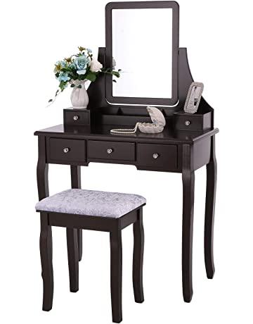 a3b930f030dd BEWISHOME Vanity Set with Mirror   Cushioned Stool Dressing Table Vanity  Makeup Table 5 Drawers 2