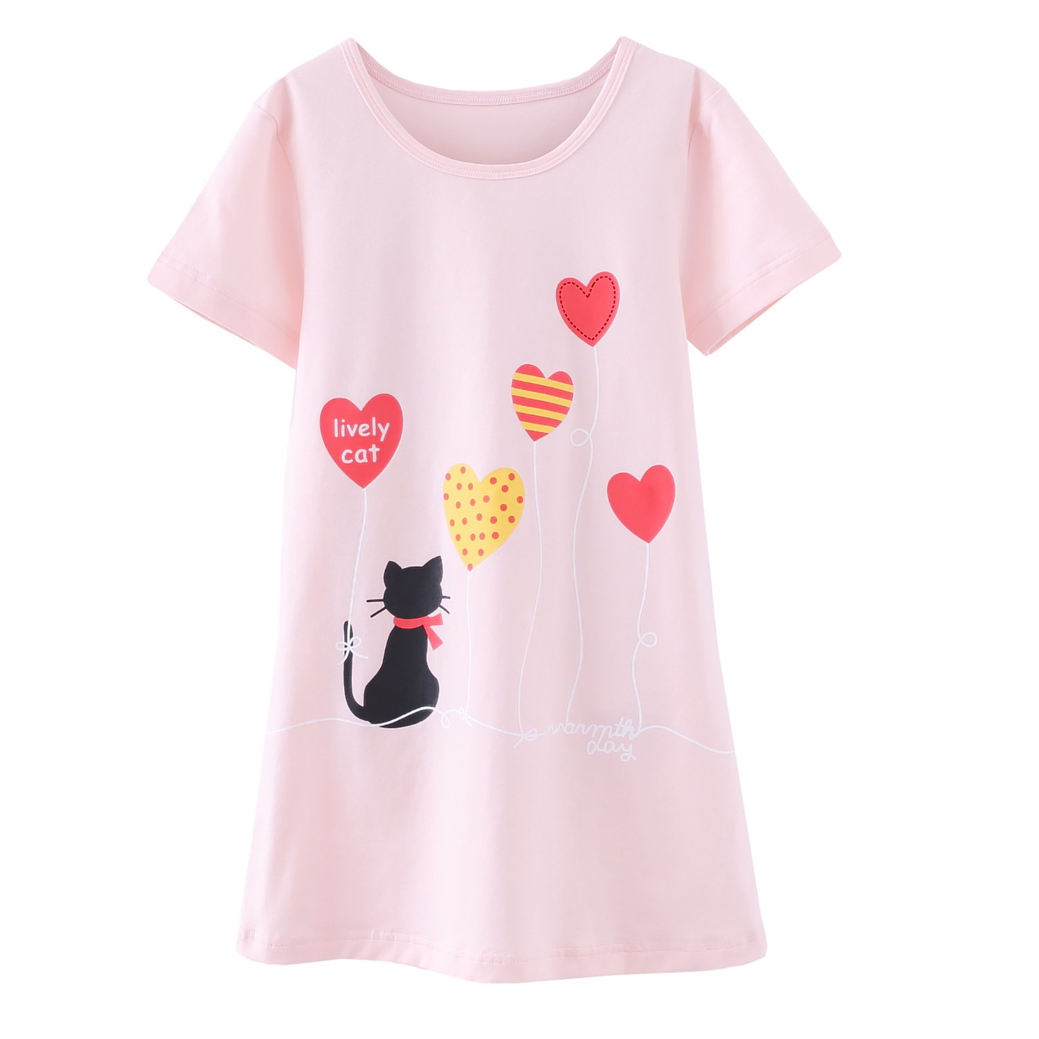 Abalaco Girls Kids Cotton Summer Cartoon Nightgown Sleepwear Dress Pretty Home Dress 3-12T (11-12 Years, Pink heart) by Abalaco (Image #1)