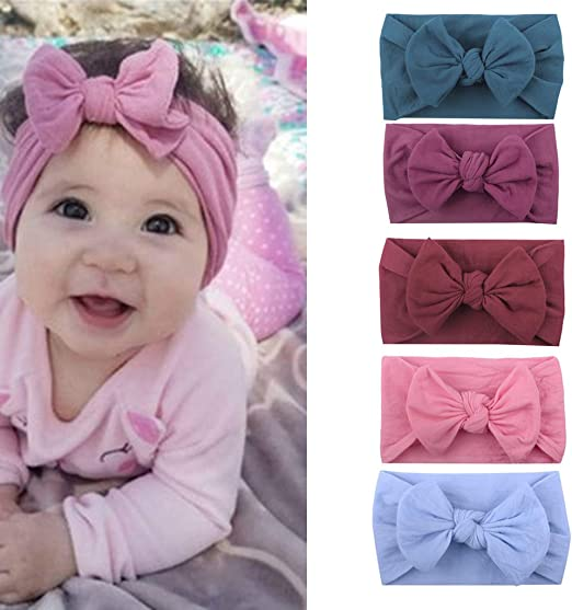 3 PCs Baby Girls Bow Cotton Headbands Cute Children Hair Bands Headwear Bandanas