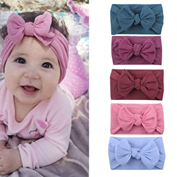 Girls Newborn Baby Toddler Bow Headband Hair Band Accessories Headwear 5pcs Hair Accessories
