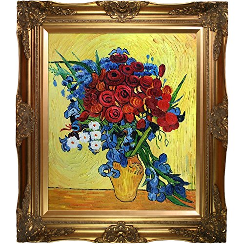 La Pastiche VG2674-FR-6996G20X24 Framed Oil Painting Poppies & Iris Collage Hand Painted Original by with Victorian Gold (Hand Painted Iris)