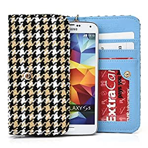 NuVur &153; BLACK&WHITE Multicolored Wallet Case/Woven Pattern/for HTC Desire P/CardSlots&Wristlet