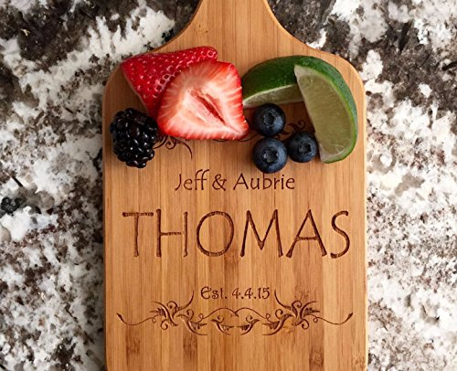 - Personalized Engraved Cutting Board with Handle Housewarming and Wedding Gift for Kitchen (5 x 11 Bamboo Paddle Shaped, Thomas Design)