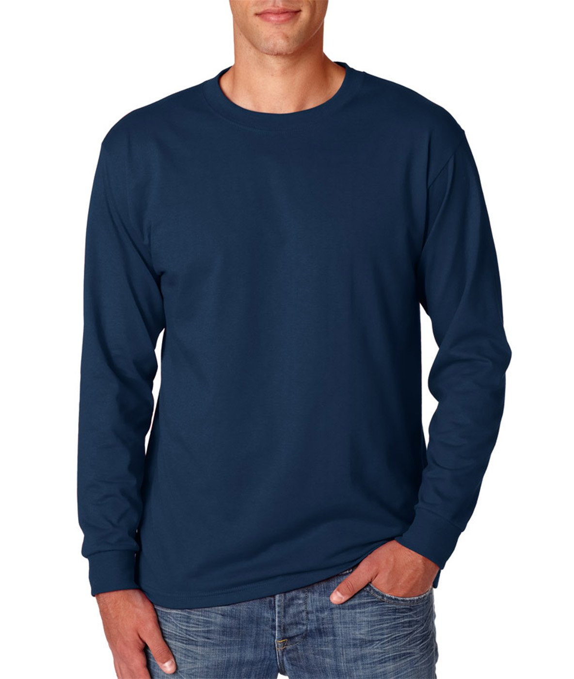 Jerzees Men's Adult Long Sleeve Tee, Navy, Large
