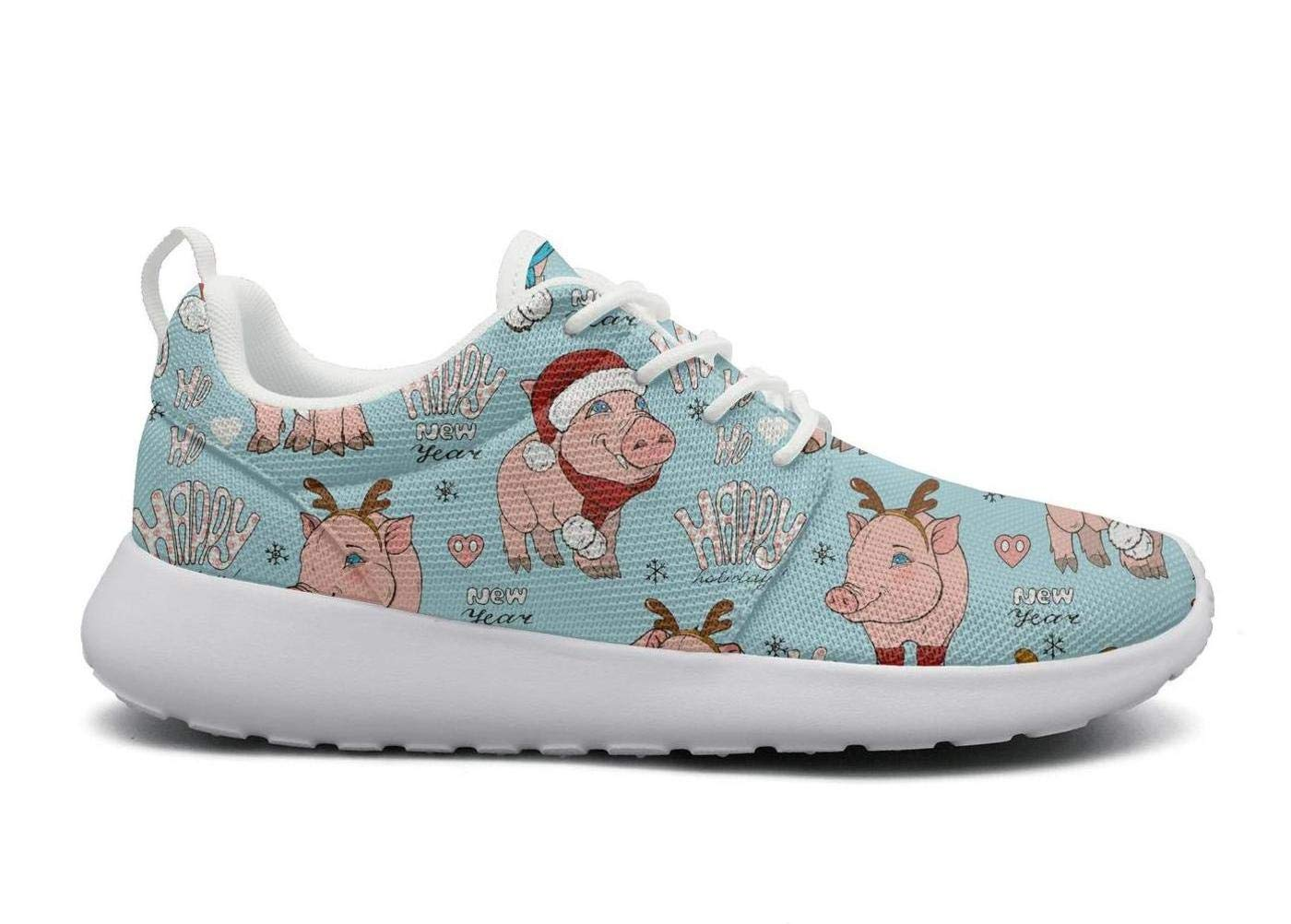 ipdterty Wear-Resistant Traveling Sneaker Fat Happy Moose Pigs Celebrate New Year Mans Novelty Running Shoes