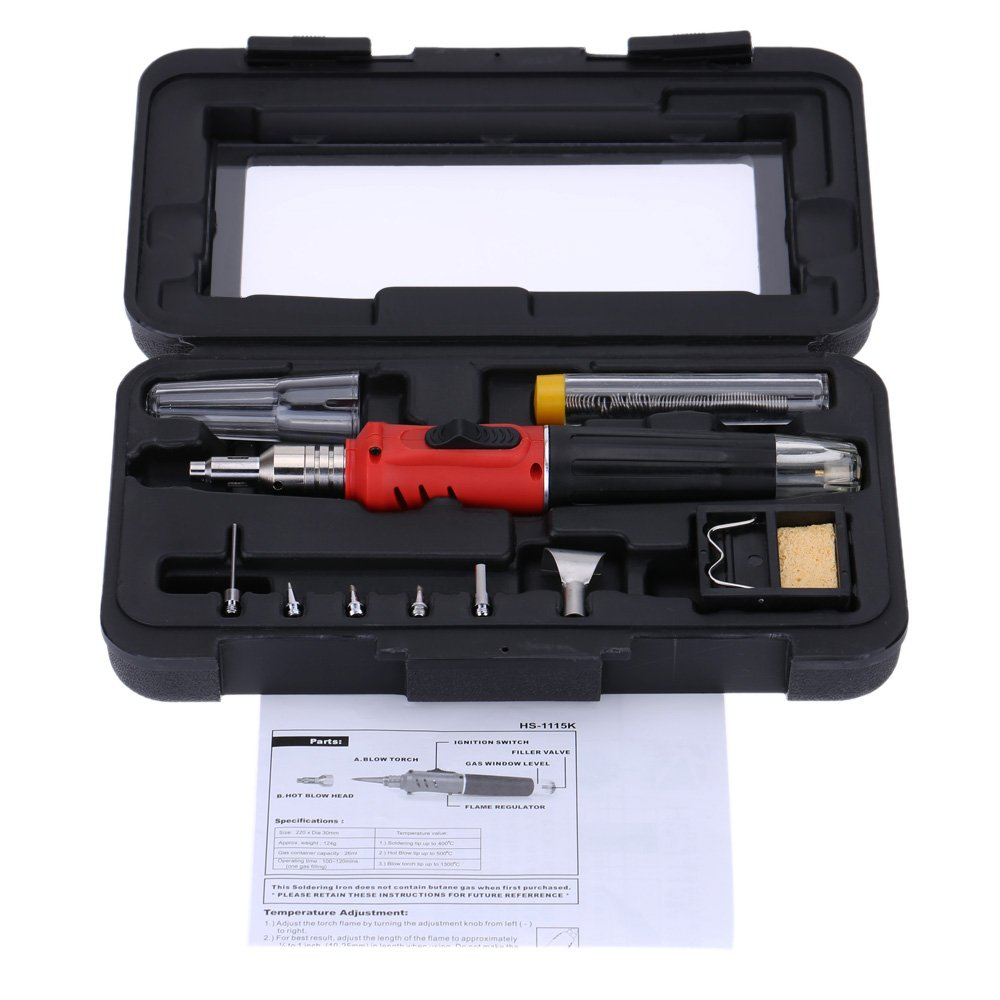 KKmoon 10 in 1 Professional Pen-style Butane Gas Soldering Iron Set 26ml Welding Kit Torch HS-1115K