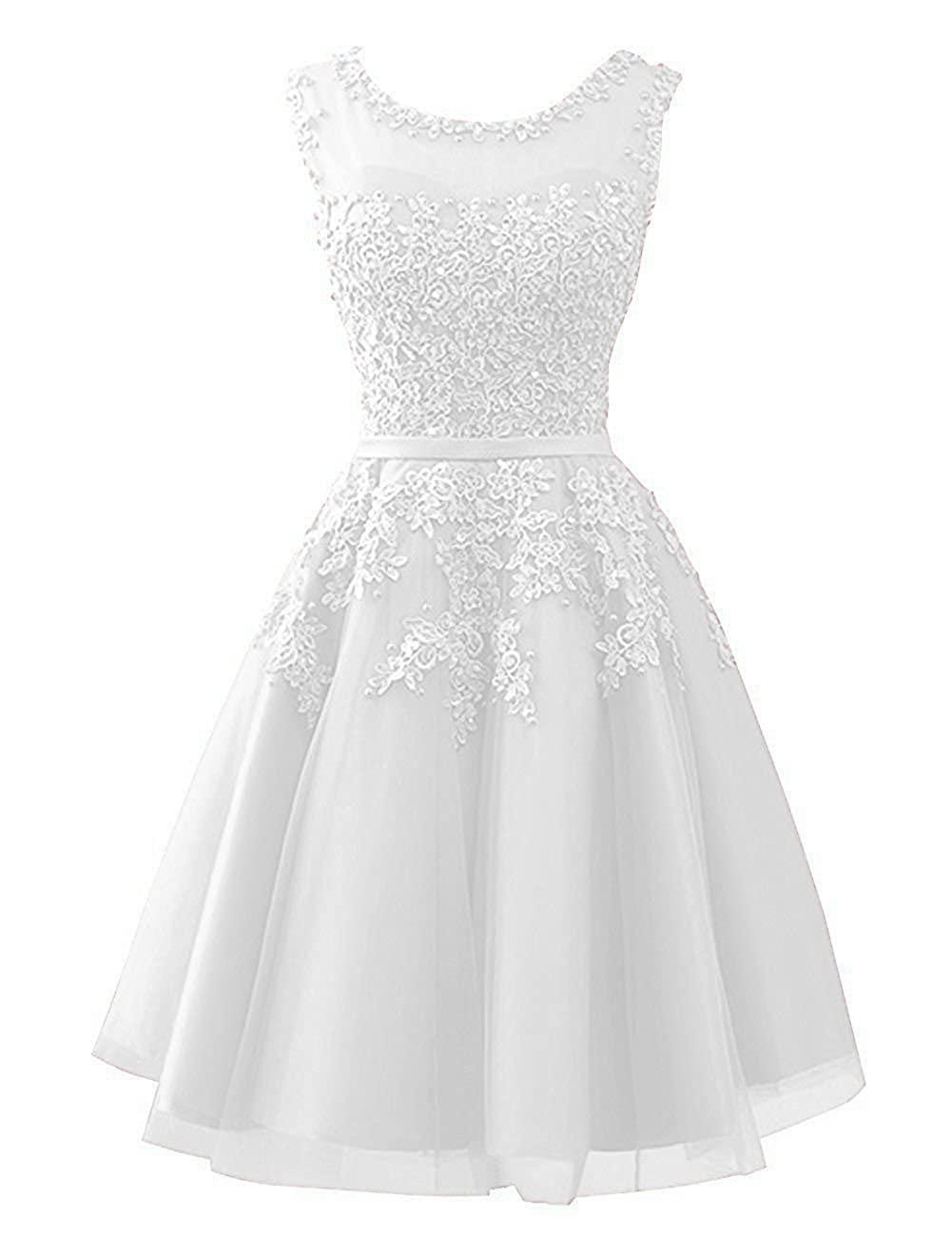Ivory Cdress Tulle Short Junior Homecoming Dresses Prom Evening Dress Party Formal Gowns Lace Appliques