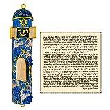Talisman4U Blue Enamel MEZUZAH CASE with Scroll Crystal Vine Design Israel Judaica Door Mezuza 4 Inch