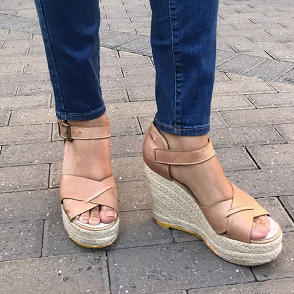 VESNIBA Women's Wedge Sandals Thick-Soled Waterproof Buckle with Roman Sandals Pink by VESNIBA LLC (Image #3)