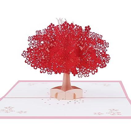 Amazon handmade pop up card romantic birthday greeting card red handmade pop up card romantic birthday greeting card red cherry blossom tree with dancing couple card m4hsunfo