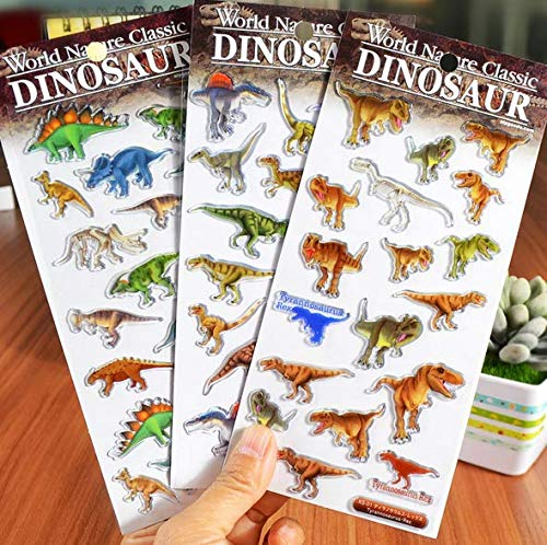 Astra Gourmet 3 Sheets 3D Puffy Dinosaur Decorative Stickers - Scrapbooking Party Favor Stickers for Kids ()