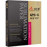 A-SUB Sublimation Paper 8.5x11 Inch 110 Sheets for Any Inkjet Printer which Match Sublimation Ink 125g
