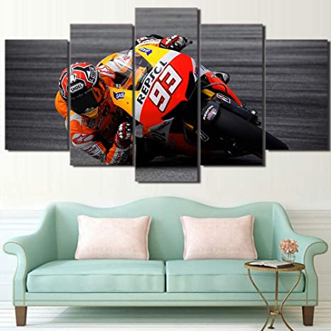 xwwnzdq Moderno 5 Piezas Deportes Motos Carreras Pintura en Lienzo HD Impresión en Lienzo Arte de la Pared Imágenes Póster Sala de Estar Decoración ...