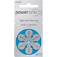 Power One - p675 - Implant Plus Cocleari Piles pour appareils auditifs - Bleu - Lot de 6