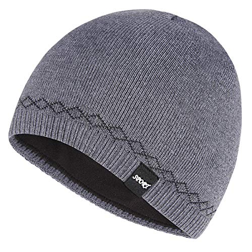 OMECHY Mens Watch Hat Winter Warm Knitting Hats Plain Cuffed Toboggan Beanie Skull Cap Grey
