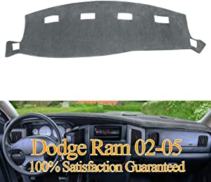 Dashboard Cover Dash Cover Mat Custom Fit for Dodge Ram 1500 2002-2005,2500/3500 2003-2005 (Ram 02-05, Gray) Y22