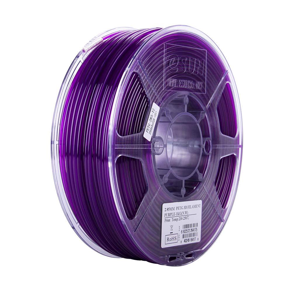 2.2lb eSUN 3D 2.85mm PETG Semi-Transparent Purple Filament 1kg 2.85mm Glass Purple PETG 3D Printer Filament
