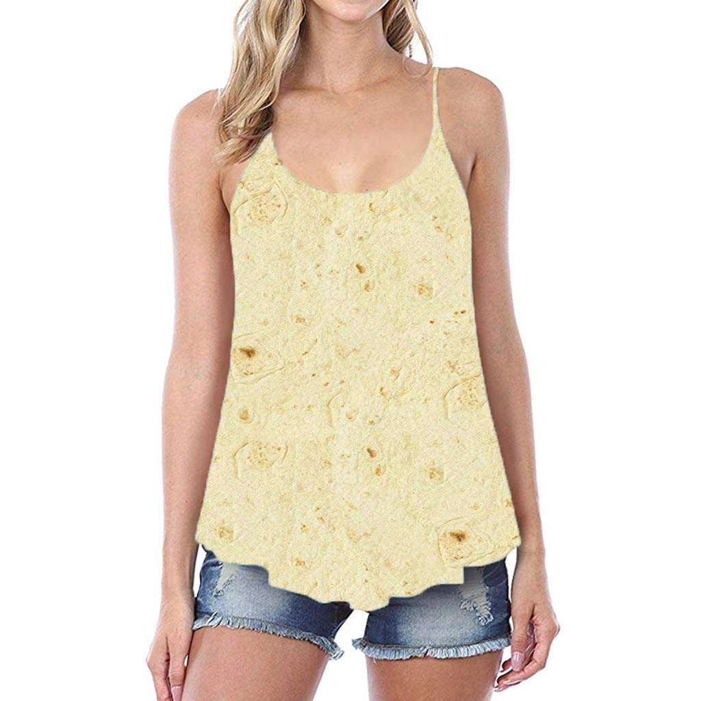 YOMXL Women Novelty Sling Tank Tops Fashion Mexican Pancakes Summer Strappy Camisole Vests Casual Tops