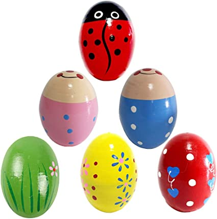Natural Assorted Easter Designs for Girls Colorful Sound Making Shakers 6-Pack Fun Wooden Toy Percussion Instruments Ipidipi Toys Funky Egg Shakers Musical Maracas for Kids Boys