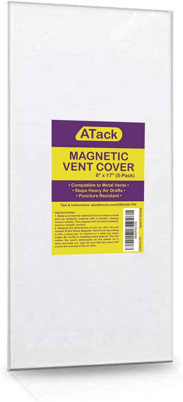 ATack Magnetic Vent Cover, Industrial Grade Magnets for Sidewall and Floor Vents - for RV, Home HVAC, AC and Furnace Vents, 8-Inch x 17-Inch, Pack of 5