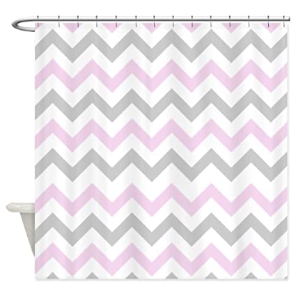 CafePress Pink And Grey Chevron Shower Curtain Decorative Fabric 69quot